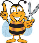 Clip art Graphic of a Honey Bee Cartoon Character Holding a Pair of Scissors