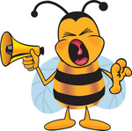 Clip art Graphic of a Honey Bee Cartoon Character Screaming Into a Megaphone