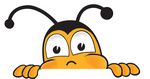 Clip art Graphic of a Honey Bee Cartoon Character Peeking Over a Surface