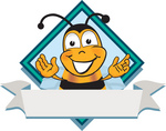 Clip art Graphic of a Honey Bee Cartoon Character Label