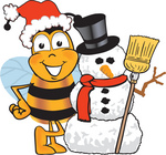 Clip art Graphic of a Honey Bee Cartoon Character With a Snowman on Christmas