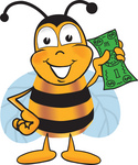 Clip art Graphic of a Honey Bee Cartoon Character Holding a Dollar Bill