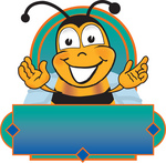 Clip art Graphic of a Honey Bee Cartoon Character Logo