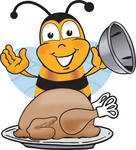 Clip art Graphic of a Honey Bee Cartoon Character Serving a Thanksgiving Turkey on a Platter