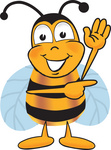 Clip art Graphic of a Honey Bee Cartoon Character Waving and Pointing