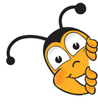 Clip art Graphic of a Honey Bee Cartoon Character Peeking Around a Corner