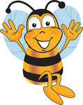 Clip art Graphic of a Honey Bee Cartoon Character Jumping