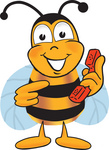 Clip art Graphic of a Honey Bee Cartoon Character Holding a Telephone