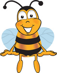 Clip art Graphic of a Honey Bee Cartoon Character Sitting