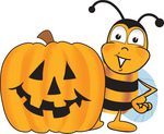 Clip art Graphic of a Honey Bee Cartoon Character With a Carved Halloween Pumpkin