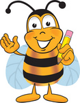 Clip art Graphic of a Honey Bee Cartoon Character Holding a Pencil