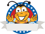 Clip art Graphic of a Honey Bee Cartoon Character Logo With Stars and a Blank Label