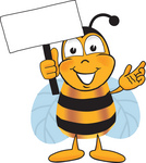 Clip art Graphic of a Honey Bee Cartoon Character Holding a Blank Sign