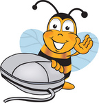 Clip art Graphic of a Honey Bee Cartoon Character With a Computer Mouse
