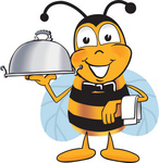 Clip art Graphic of a Honey Bee Cartoon Character Dressed as a Waiter and Holding a Serving Platter