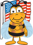 Clip art Graphic of a Honey Bee Cartoon Character Pledging Allegiance to an American Flag
