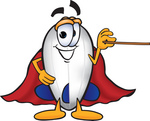 Clip art Graphic of a Dirigible Blimp Airship Cartoon Character Holding a Pointer Stick