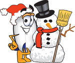 Clip art Graphic of a Dirigible Blimp Airship Cartoon Character With a Snowman on Christmas