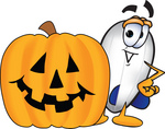 Clip art Graphic of a Dirigible Blimp Airship Cartoon Character With a Carved Halloween Pumpkin