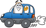 Clip art Graphic of a Dirigible Blimp Airship Cartoon Character Driving a Blue Car and Waving