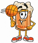 Clip art Graphic of a Frothy Mug of Beer or Soda Cartoon Character Spinning a Basketball on His Finger