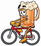 Clip art Graphic of a Frothy Mug of Beer or Soda Cartoon Character Riding a Bicycle