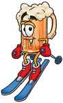 Clip art Graphic of a Frothy Mug of Beer or Soda Cartoon Character Skiing Downhill