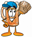 Clip art Graphic of a Frothy Mug of Beer or Soda Cartoon Character Catching a Baseball With a Glove