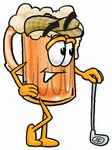 Clip art Graphic of a Frothy Mug of Beer or Soda Cartoon Character Leaning on a Golf Club While Golfing