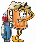 Clip art Graphic of a Frothy Mug of Beer or Soda Cartoon Character Swinging His Golf Club While Golfing