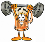 Clip art Graphic of a Frothy Mug of Beer or Soda Cartoon Character Holding a Heavy Barbell Above His Head