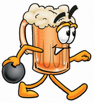 Clip art Graphic of a Frothy Mug of Beer or Soda Cartoon Character Holding a Bowling Ball