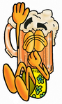 Clip art Graphic of a Frothy Mug of Beer or Soda Cartoon Character Plugging His Nose While Jumping Into Water
