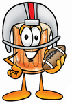Clip art Graphic of a Frothy Mug of Beer or Soda Cartoon Character in a Helmet, Holding a Football