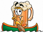 Clip art Graphic of a Frothy Mug of Beer or Soda Cartoon Character Rowing a Boat