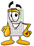 Clip Art Graphic of a Calculator Cartoon Character Pointing at the Viewer