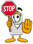 Clip Art Graphic of a Calculator Cartoon Character Holding a Stop Sign
