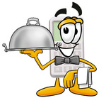 Clip Art Graphic of a Calculator Cartoon Character Dressed as a Waiter and Holding a Serving Platter
