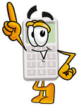 Clip Art Graphic of a Calculator Cartoon Character Pointing Upwards