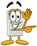 Clip Art Graphic of a Calculator Cartoon Character Waving and Pointing