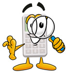 Clip Art Graphic of a Calculator Cartoon Character Looking Through a Magnifying Glass