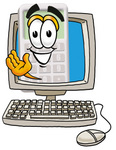 Clip Art Graphic of a Calculator Cartoon Character Waving From Inside a Computer Screen