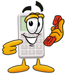 Clip Art Graphic of a Calculator Cartoon Character Holding a Telephone