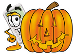 Clip Art Graphic of a Calculator Cartoon Character With a Carved Halloween Pumpkin