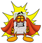 Clip Art Graphic of a Calculator Cartoon Character Dressed as a Super Hero