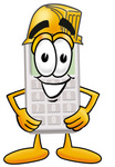 Clip Art Graphic of a Calculator Cartoon Character Wearing a Hardhat Helmet