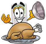 Clip Art Graphic of a Calculator Cartoon Character Serving a Thanksgiving Turkey on a Platter