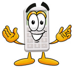 Clip Art Graphic of a Calculator Cartoon Character With Welcoming Open Arms