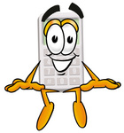 Clip Art Graphic of a Calculator Cartoon Character Sitting