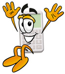 Clip Art Graphic of a Calculator Cartoon Character Jumping